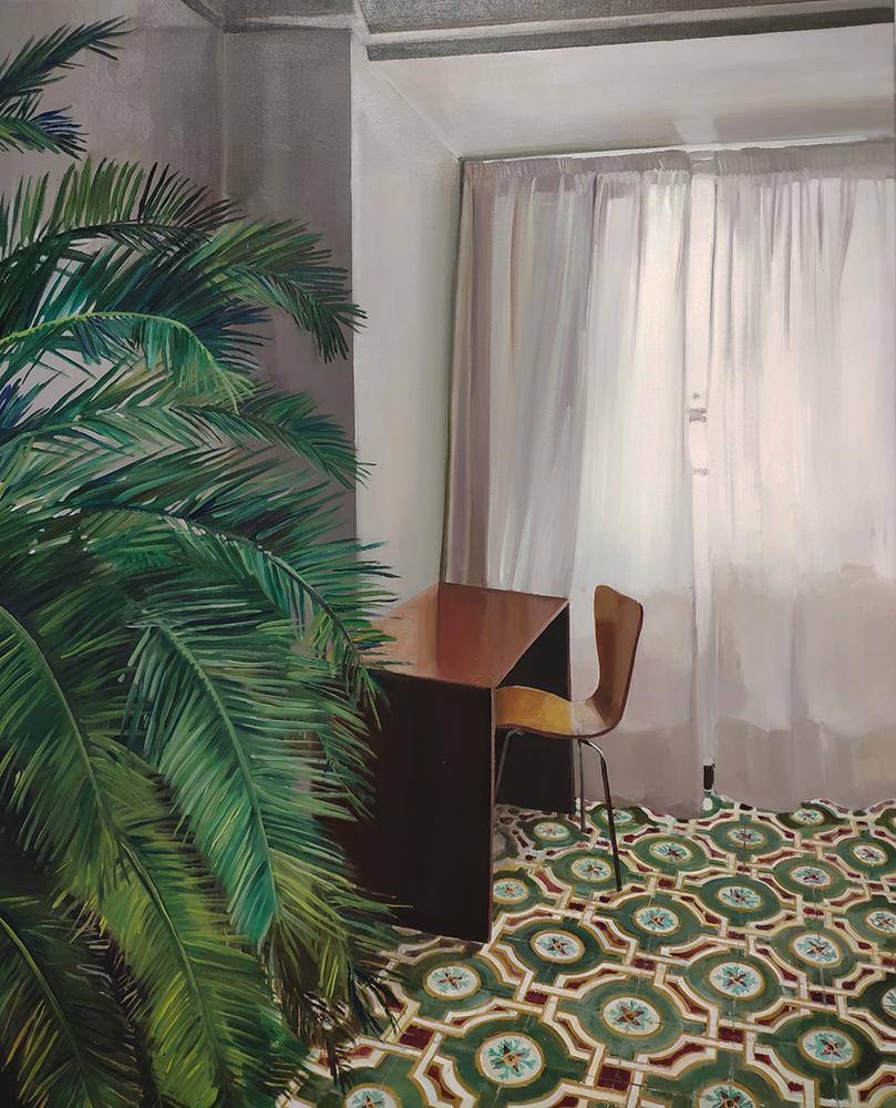 Interior con palmera