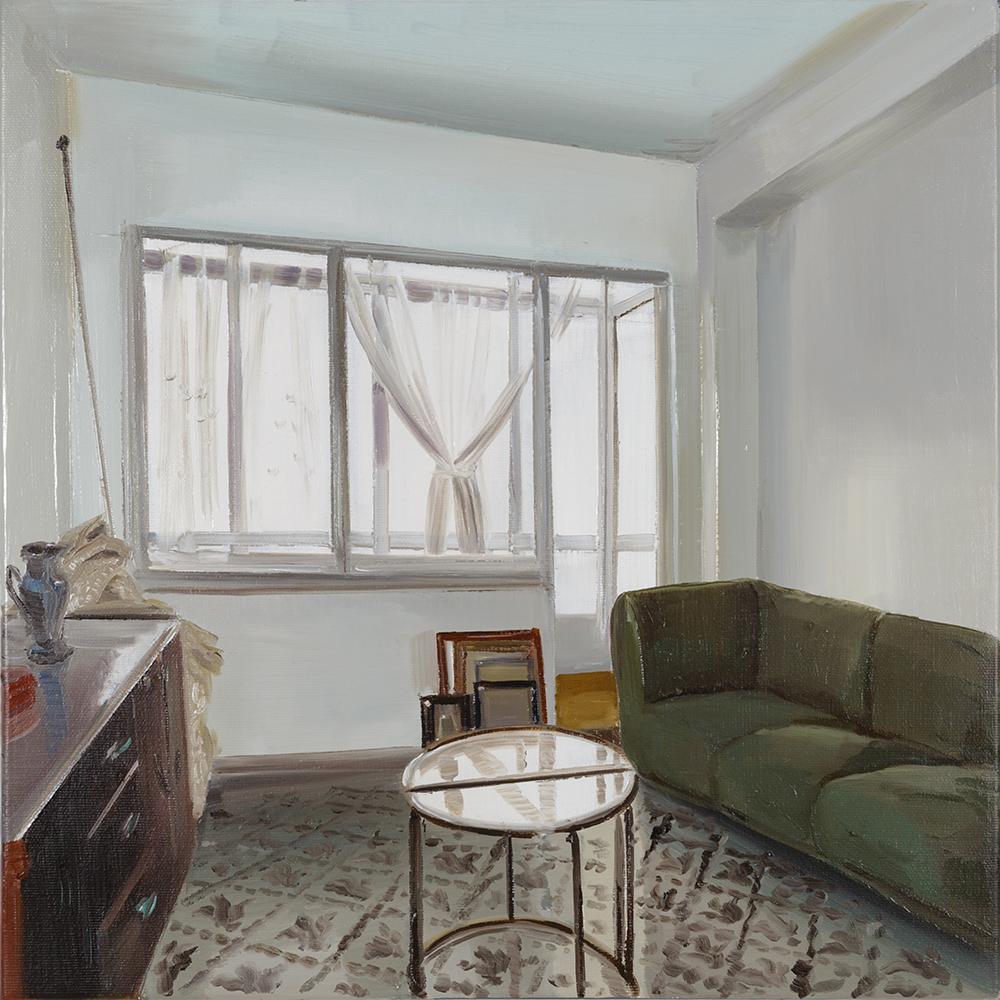 Sala con mesa de cristal